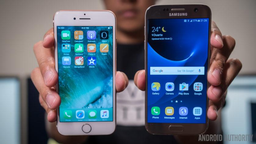iPhone 7 vs Galaxy S7, передняя панель