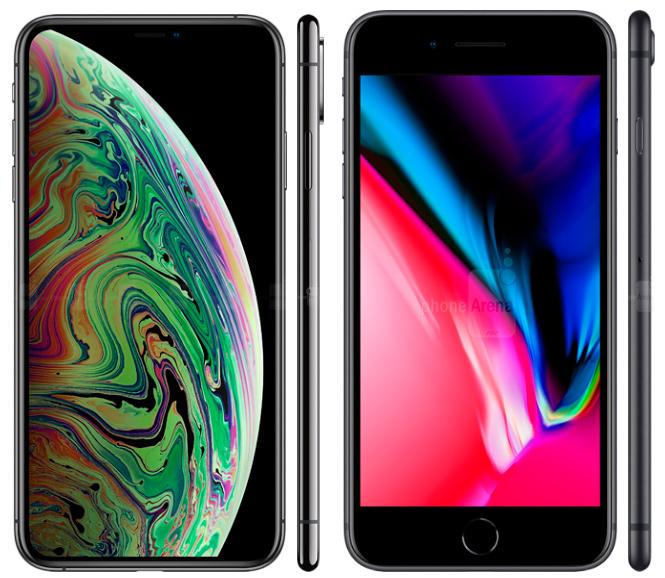 Сравнение размеров iPhone XS Max и 8 Plus